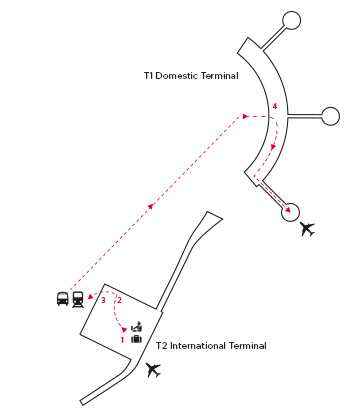 map of path from brisbane international to brisbane domestic airport
