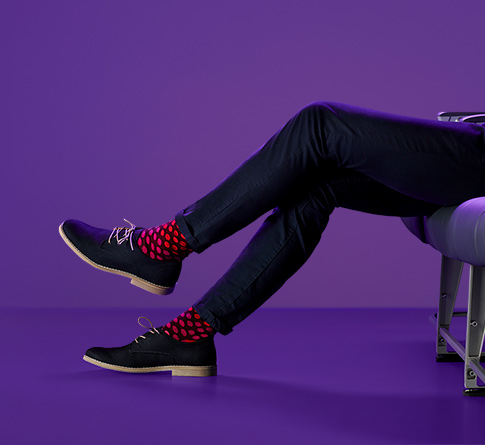 Legs with purple background