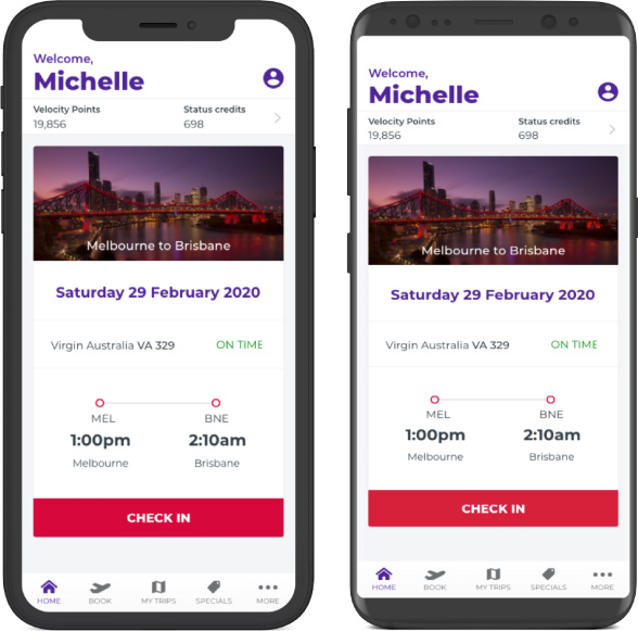Virgin Australia app home screen on apple and android devices