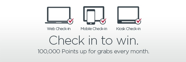 Check in to win. 100,000 Points up for grabs every month.