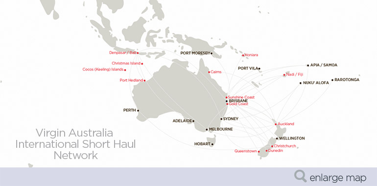 Virgin Australia International Short Haul Cargo Network: Australia, New Zealand and Pacific Destinations