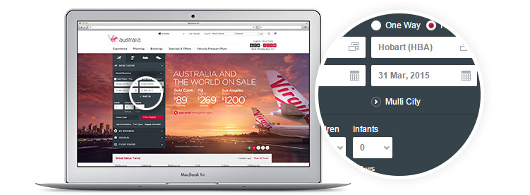 Virgin Australia website homepage displayed on laptop - select multi city from the booking panel