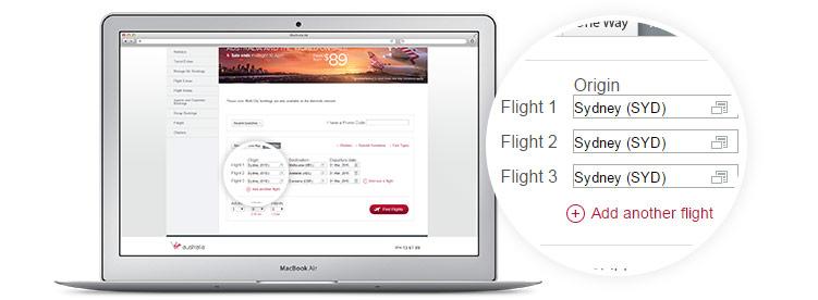 Virgin Australia book a flight page displayed on laptop - multi city flight booking