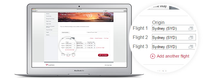 Virgin Australia book a flight page displayed on laptop - multi city flight booking
