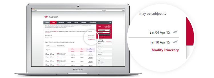 Virgin Australia book a flight page displayed on laptop Multi City Booking - modify itinerary