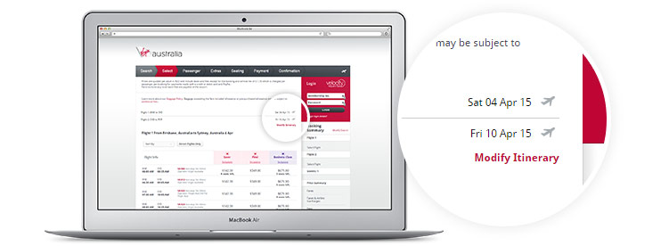 Virgin Australia book a flight page displayed on laptop Multi City Booking - modify itinerary