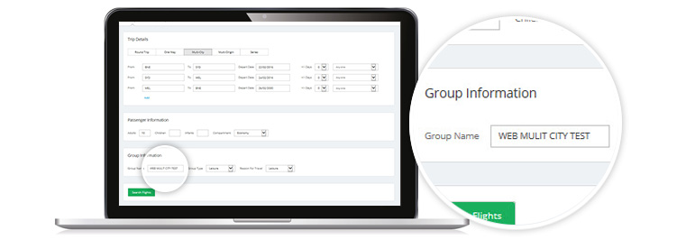 laptop showing Group Name entered in Capital Letters