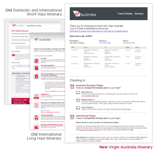 Examples of the old and new Virgin Australia itineraries